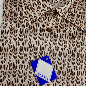 OLEG CASSINI VTG 70s MENS Shirt S M L Slinky Bird Foot Nylon DISCO BURMA NOS