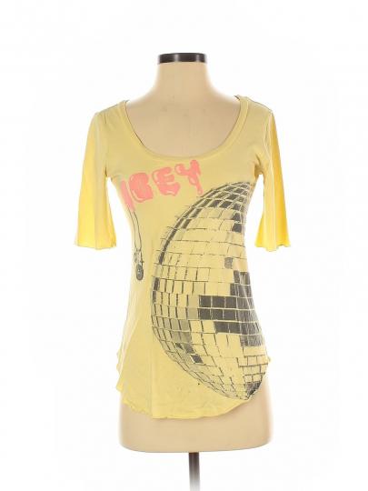 Obey Women Yellow Short Sleeve T-Shirt M