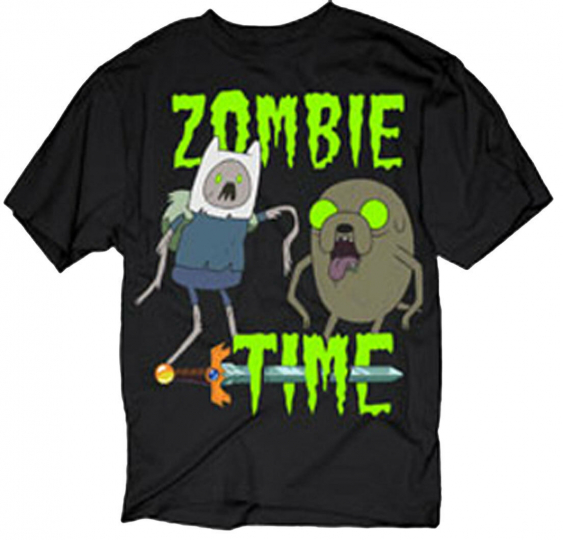 Official Adventure Time Zombie Time Adult T-Shirt -Jake and Finn Cartoon Network