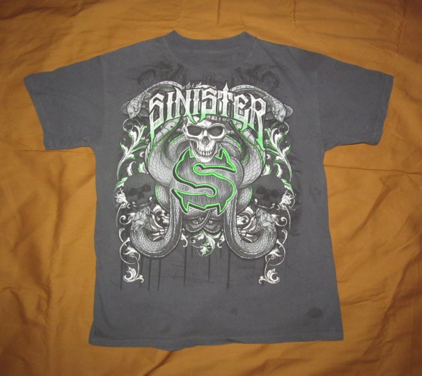 Official SINISTER brand Men's M Medium dark gray cotton T shirt 19.5 x 26