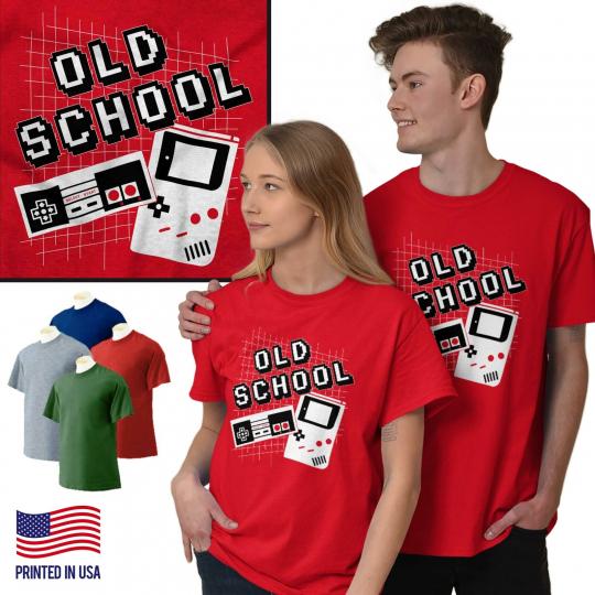 Old School Throwback Retro Video Gamer Nerd Short Sleeve T-Shirt Tees Tshirts