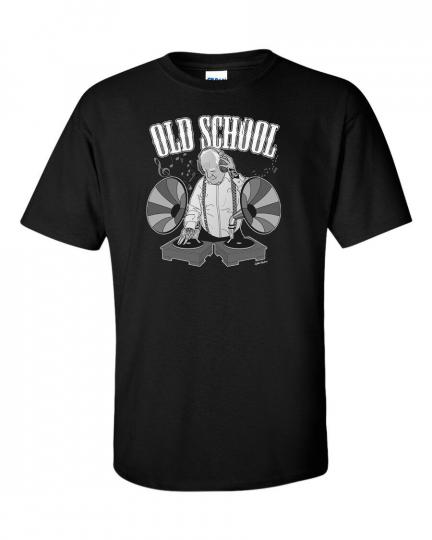 Oldschool T-Shirt Djing Music Funny Vinyl Party Club Clubber Retro DJ Men Tee