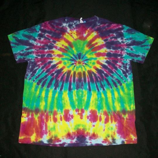 Organic Cotton Tie Dye T-Shirt XL Bright Sunburst Tye Dyed Hippie Fair Trade