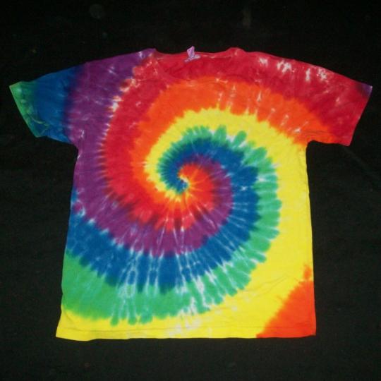 Organic Tie Dye Child T-Shirt Large 12 Rainbow Spiral Hippie Tye Dyed Fair Trade