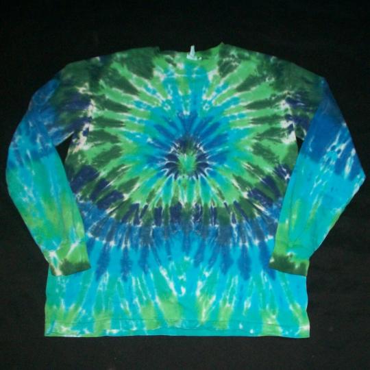 Organic Tie Dye Long Sleeve Shirt Medium Blue & Green Hippie Hand Tye Dyed