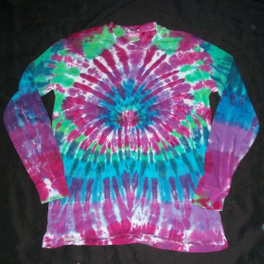 Organic Tie Dye Long Sleeve Shirt Small Peacock Hippie Hand Tye Dyed Fair Trade