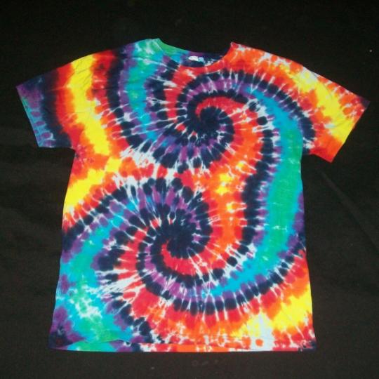 Organic Tie Dye T-Shirt Wild Rainbow Spirals Large Hippie Tye Dyed Fair Trade