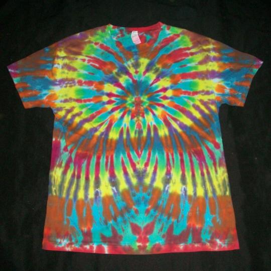 Organic Tie Dye T-Shirt Wild Rainbow Sunburst Large Hippie Tye Dyed Fair Trade