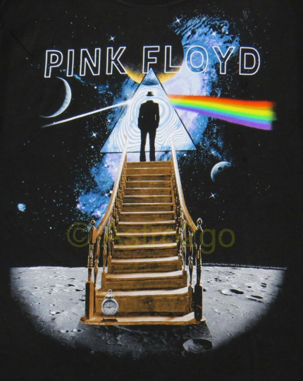 PINK FLOYD STAIRWAY TO THE MOON--Liquid Blue Astronomy Space soft T shirt S-XXL