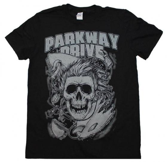 Parkway Drive Surfer Skull Rock Metal Music Band Men's Black Cotton T-Shirt