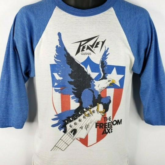 Peavey Guitars T Shirt Vintage 80s The Freedom Axe Baseball Tee Raglan Medium