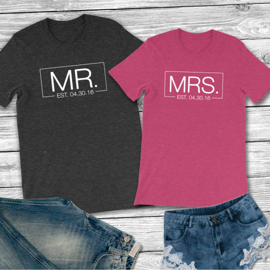 Personalized Tee Mr. and Mrs. with Est. Date - Unisex T-Shirt Couple Shirt Set