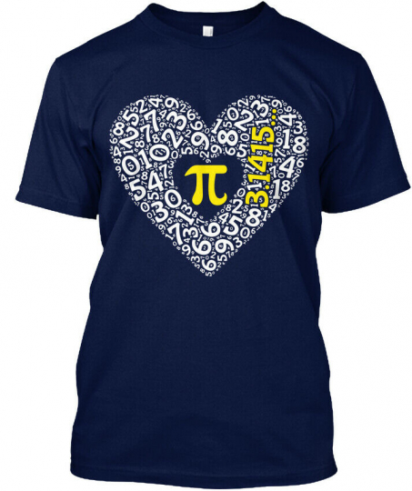 Pi Heart Math Nerd Love Day Hanes Tagless Tee T-Shirt