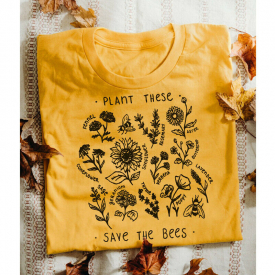 Plant These Save The Bees Vintage Graphic T-shirt Women Harajuku Funny Tees Tops