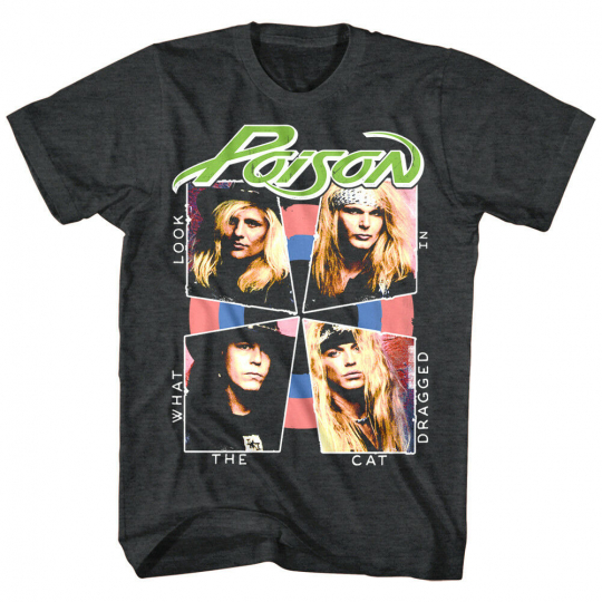 Poison Look What the Cat Dragged in Men's T-Shirt Rock Band OFFICIAL LICENSE