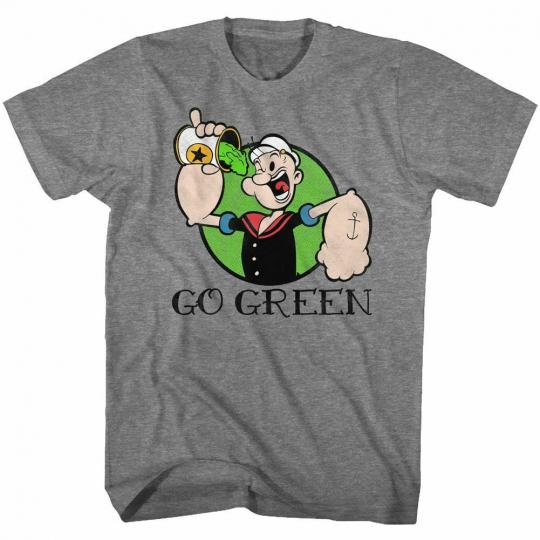 Popeye Go Green Graphite Heather Adult T-Shirt