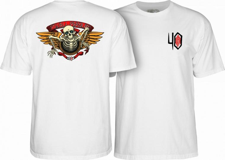 Powell Peralta 40th Anniversary Winged Ripper Skateboard T-Shirt White 2XL XXL