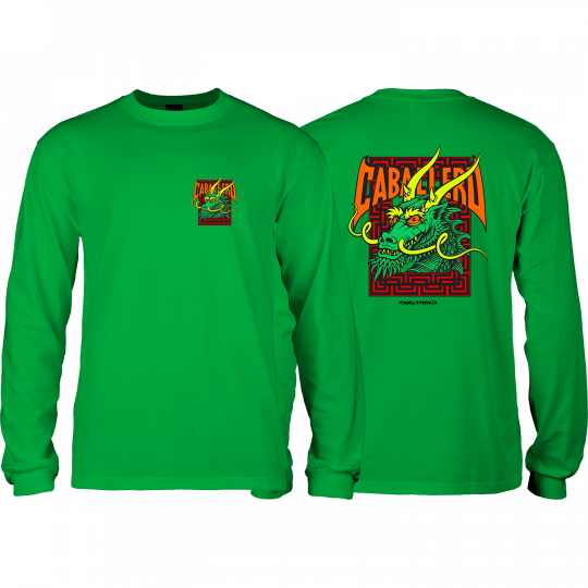 Powell Peralta Cab Street Dragon Long Sleeve T-Shirt - Kelly Green