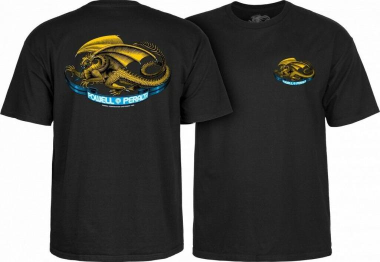 Powell Peralta Oval Dragon Old School Skateboard Reissue T-Shirt Black