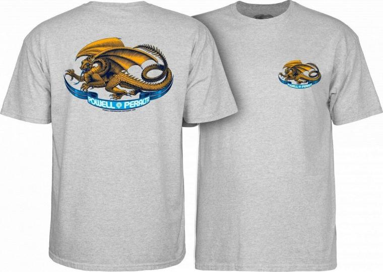Powell Peralta Oval Dragon Old School Skateboard Reissue T-Shirt Gray