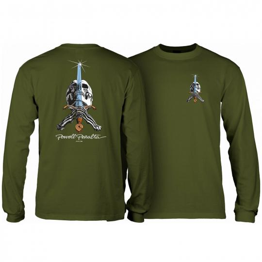 Powell Peralta Skateboard Long Sleeve Shirt Skull and Sword Military Green