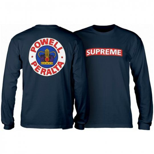 Powell Peralta Skateboard Long Sleeve Shirt Supreme Navy