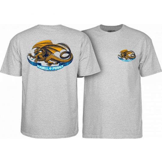 Powell Peralta Skateboard Shirt Oval Dragon Gray