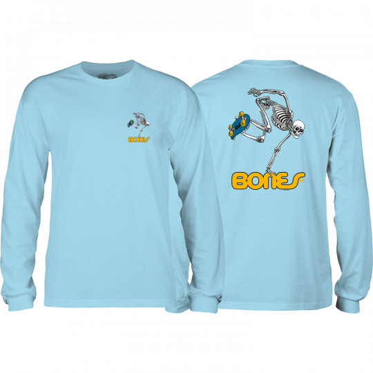 Powell Peralta Skateboard Skeleton Long Sleeve T-Shirt - Powder Blue