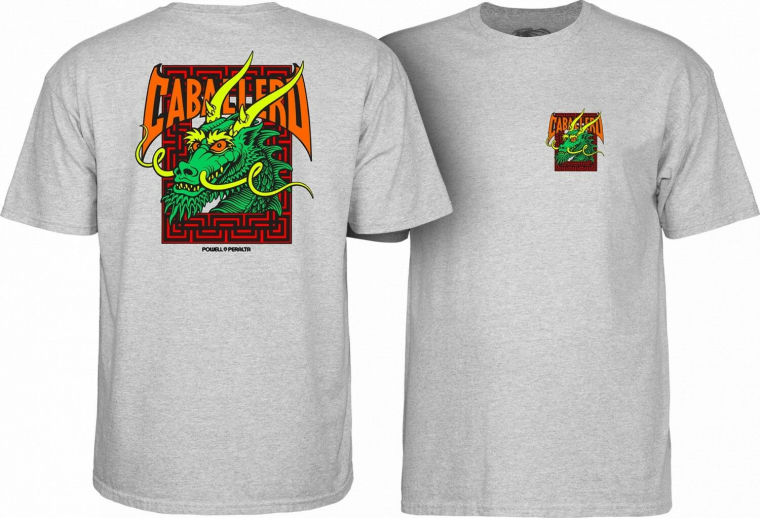 Powell Peralta Skateboards Old School Caballero Dragon Reissue T-Shirt Gray