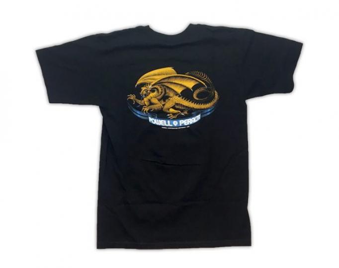 Powell Peralta Skateboards Oval Dragon Old School Bones Brigade Black T-Shirt