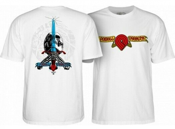 Powell Peralta Triple P Skull & Sword T-Shirt Medium White