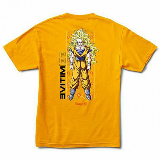 Primitive x Dragon Ball Z Men's Goku Glow Short Sleeve T Shirt Yellow Gold Cl...