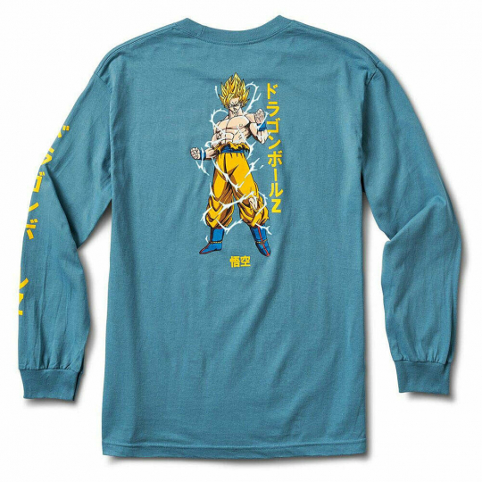 Primitive x Dragon Ball Z Super Saiyan Goku Men's Long Sleeve T Shirt Slate Blue