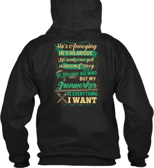 Printed Cute Ironworkers Lady - He's Annoying Hilarious Gildan Hoodie Sweatshirt