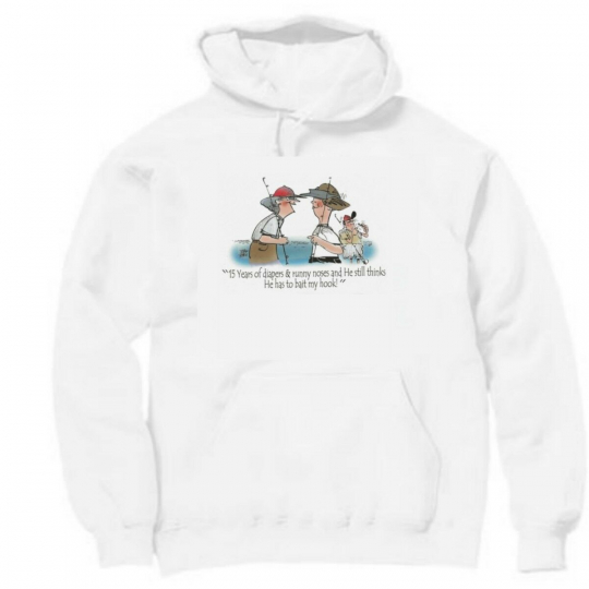 Pullover Hooded Sports Sweatshirt Years Diapers He Thinks Bait Hook Fishing