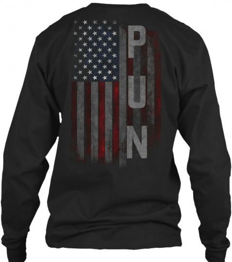 Pun Family American Flag Gildan Long Sleeve Tee T-Shirt