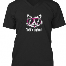 Pun Saying Check Meowt Cool Funny Cat Gr – Premium Jersey V-Neck