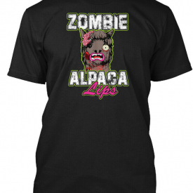 Quality Zombie Alpaca Lips Halloween Pun Llama Hanes Hanes Tagless Tee T-Shirt