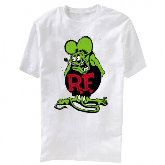 R.F. Ratfink Green Rat Mouse Rodant Distressed Adult White T-Shirt Tee