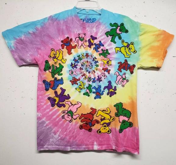 RARE Grateful Dead Marching Bears Tie Dye VINTAGE LIQUID BLUE 1995 Mens Medium