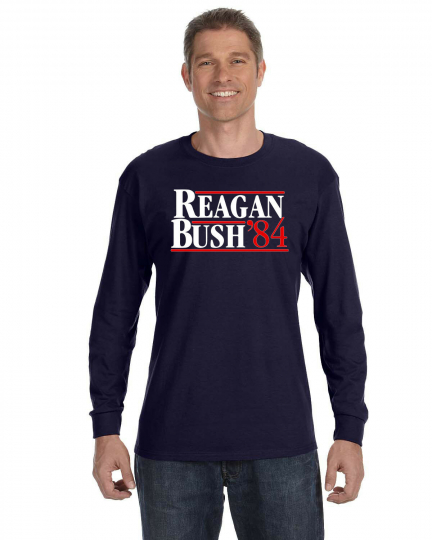 REAGAN BUSH 84 Retro Long Sleeve T- Shirt Ronald and George GOP 1984 Election