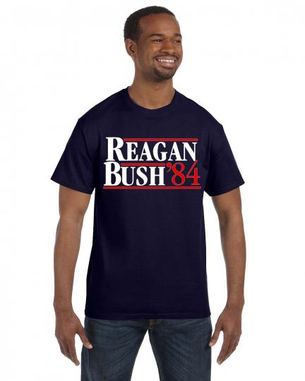 REAGAN BUSH 84 Retro Tee Shirt Ronald and George Republican Election 1984 S-5XL