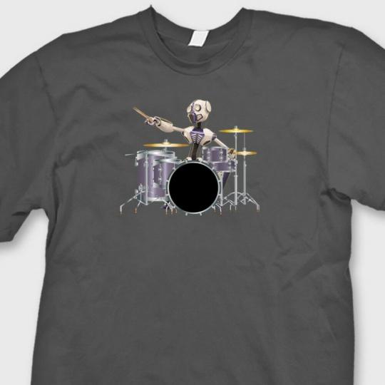 ROBOT DRUMMER Drum Set Sci Fi T-shirt Band Rock Music Tee Shirt