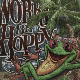 "Rainforest Cafe Souvenir T-Shirt ""Don't Worry Be Happy"" Graphic Logo XXL NWT"