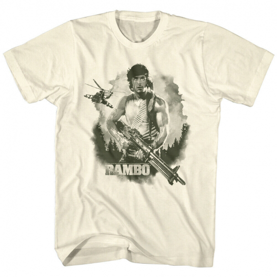 Rambo Watercolor Helicopter Sylvester Stallone American Classics Adult T-Shirt