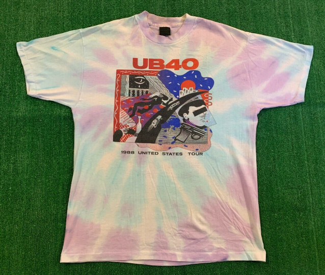 Rare Vintage 80's UB40 Band US Tour Shirt Size XL 88' Tie Dye Single Stitch Art