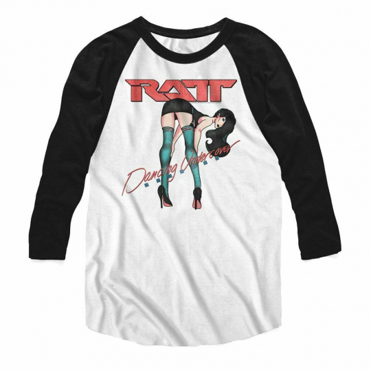 Ratt Dancing Cover White/Black Baseball Raglan T-Shirt
