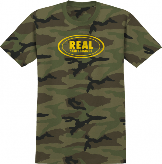 Real Skateboard T-Shirt Small Oval Camo/Yellow Mens