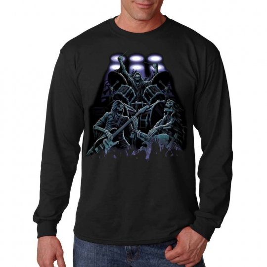 Reaper Rock Band Skeleton Skulls Guitars Drums Music Long Sleeve T-Shirt