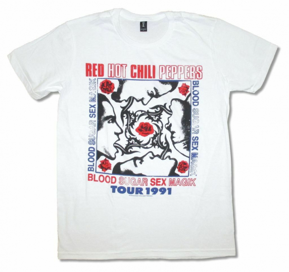 Red Hot Chili Peppers Blood Sugar Sex Magik Tour 1991 White T Shirt New Reissue